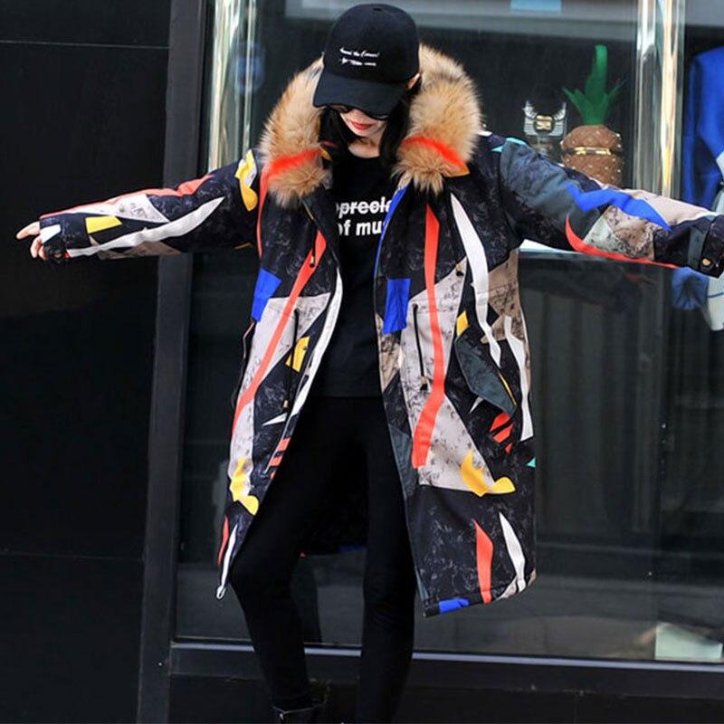 D'extérieur Hs32 Taille Capuche Épais Coton À Fur Hiver Impression Vestes Veste Rembourrés Pull Collar D'hiver Femmes Parkas Colored En Vêtements Longue Femelle Color photo Grande Bande Couleur Avqx1OIn