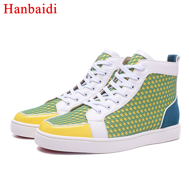 Hanbaidi Fashion Patchwork Mens Casual Shoes Patent Leather Lace Up High Top Mens Laofers Runway Studs Rivts Flats Shoes Men 46 spring autumn high quality patchwork future leather high top men casual shoes lace up mixed colors flats ankle wrap mens shoes