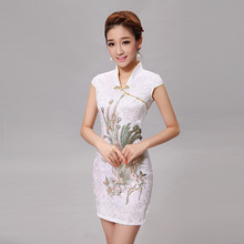 Silm Woman Chinese Traditional Dress Female Vintage Cheongsam Clothing for Evening Party Short Chinese Ancient Qipao 89