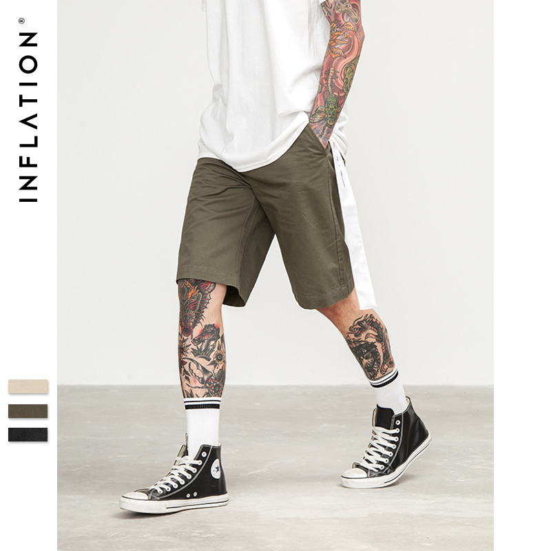 INFLATION 2018 New arrivals fashion men shorts straight loose fashion cotton mans short trousers bottoms 8413S