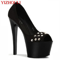 The new summer 17 cm high heels and sexy shoes ms crystal platform shoes high heeled rivet pole dancing shoes