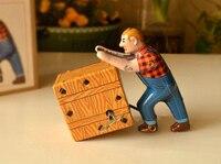 Retro clockwork tin toys Classic Clockwork Tin Workers Sokoban Rare collectibles