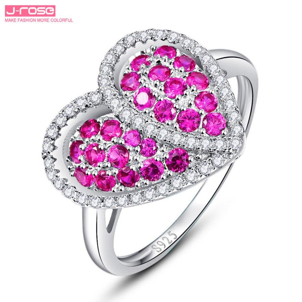 Jrose Heart Design Women Jewelry Set Engagement Wedding Red Jewelry ...