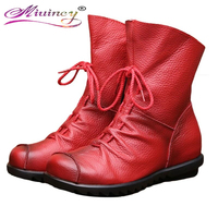 2016 Vintage Style Genuine Leather Women Boots Flat Booties Soft Cowhide Women S Shoes Front Zip