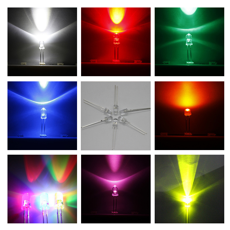 5 MM LED Diode Light Round Assorted Kit Water Clear Bright LED Set White Yellow Purple Pink 7 Seven Color Light Emitting Diode