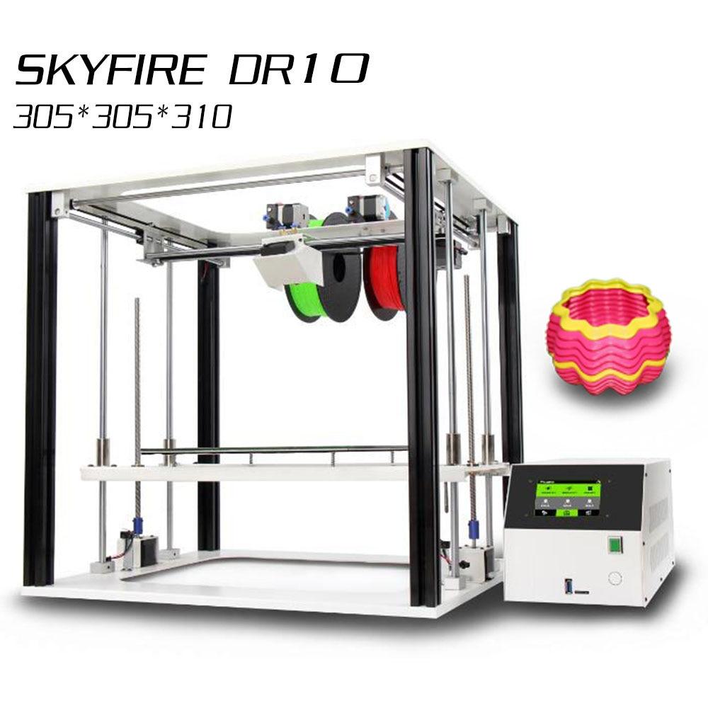 Noulei 3D imprimante écran tactile DR10 double couleur extrudeuse haute précision deux axes Z tout métal cadre Lager taille d'impression Impresora 3 D