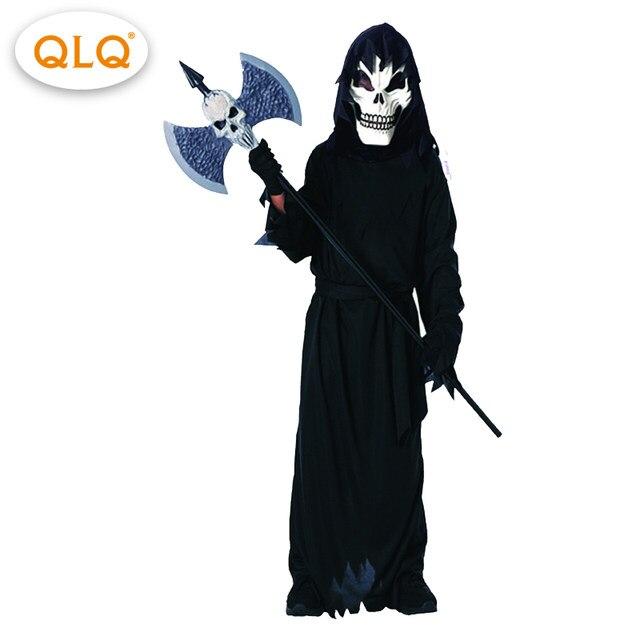 black robe skeleton hooded cloak coat ghost halloween costumes kids boy evil scary halloween party ghost cosplay costumes