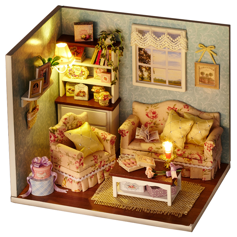 Elegant DIY Model Miniature Dollhouse With Furnitures LED 3D Wooden Warm House Toys Handmade Crafts Gifts For Children H007 #D