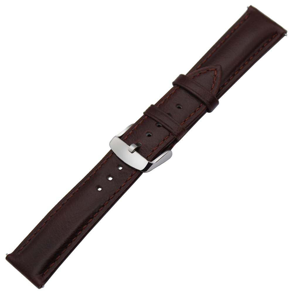 Genuine Leather Watchband for Garmin Vivoactive 3 Ticwatch 2 / E Samsung Gear Sport Quick Release Watch Band Steel Clasp Strap