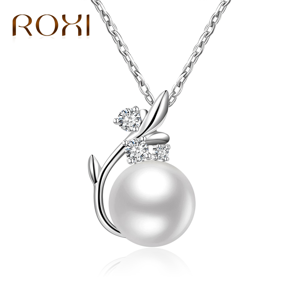 CS-DB Pendants Glittering Geometric Round Pearl Silver Necklaces