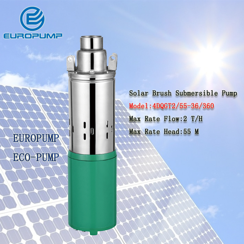EUROPUMP MODEL(4DQGT2/55-36/360) DC 36V 0.5HP 55M Head Solar Submersible Deep Well Pumps,Solar Water Pump For Garden Irrigation 50mm 2 inch deep well submersible water pump deep well water pump 220v screw submersible water pump for home 2 inch well pump
