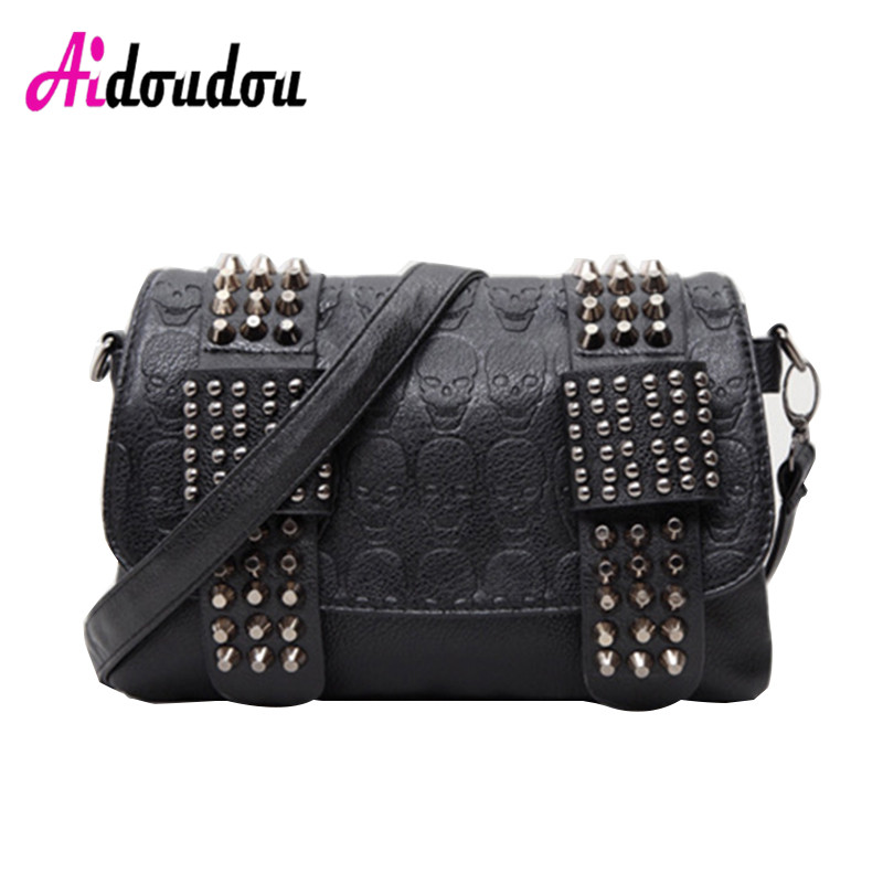 2018 Female Skull Clutch Famous Brand Luxury Handbags Women Bags Black Designer Women's Rivet Vintage Messenger Shoulder Bags 2017 luxury handbags black women bags designer women s bag rivet chain messenger shoulder bags female skull clutch famous brand