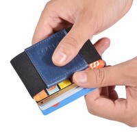 Minimalist Slim Wallet Men Women Mini Wallets Real Leather Small Business Drivers License ID Organizer Carte
