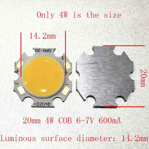 10PCS 20PCS 50PCS 20mm 4W COB LED 6-7V 600mA  The luminous surface diameter is 14.2mm Lamp, downlight, bulb lamp,3000Kwarm white