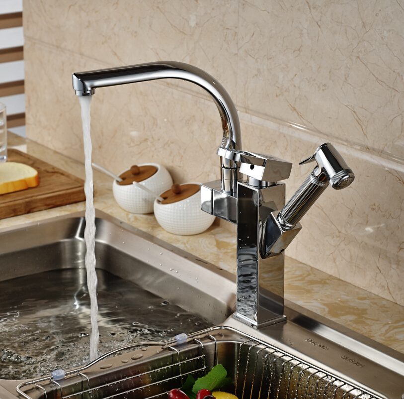 Deck Mount Single Handle Rotaion Kitchen Sink Faucet Chrome Brass Pull Out Side Sprayer Mixer Taps
