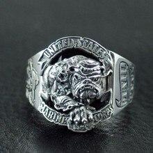 925 Стерлингового Серебра Бульдог logo Корпуса Морской Пехоты Сша кольца