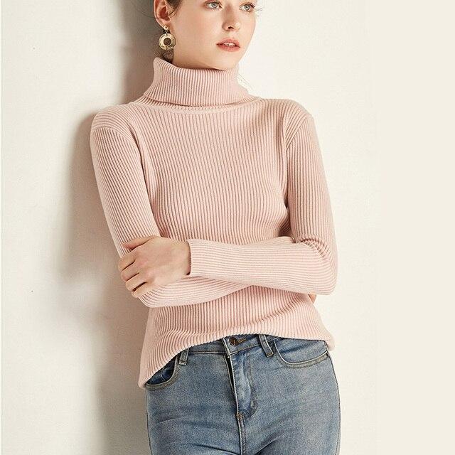 Pink Turtleneck Sweater Women Harajuku Kawaii Casual Knitted Streetwear Pullover Vintage Sweter Black White Jumpers Sweaters