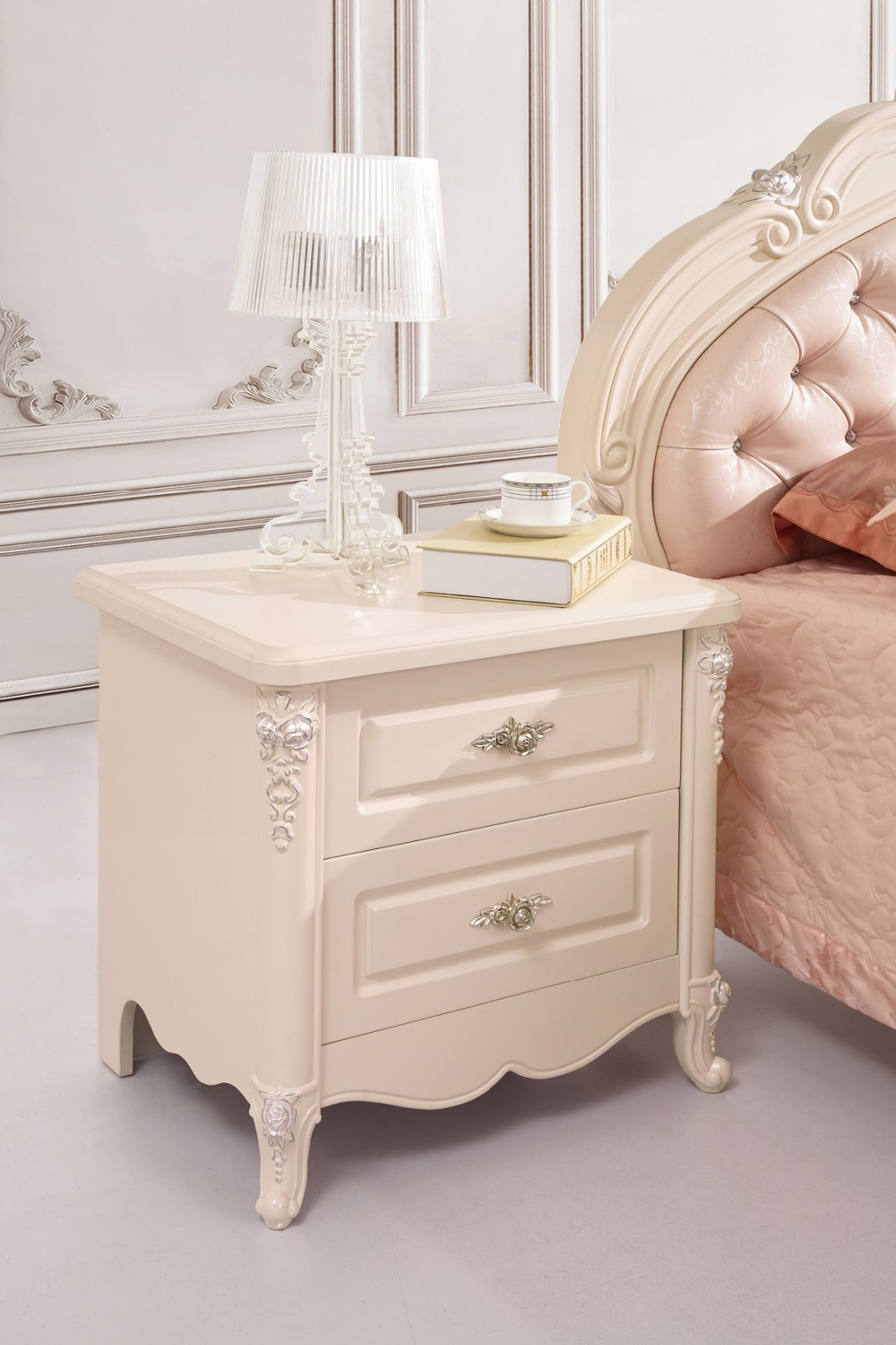 high class european style bedside tablenightstand white handcarved solidwood bedroom furniture from foshan marketset be set.  real new high class european style bedside tablenightstand