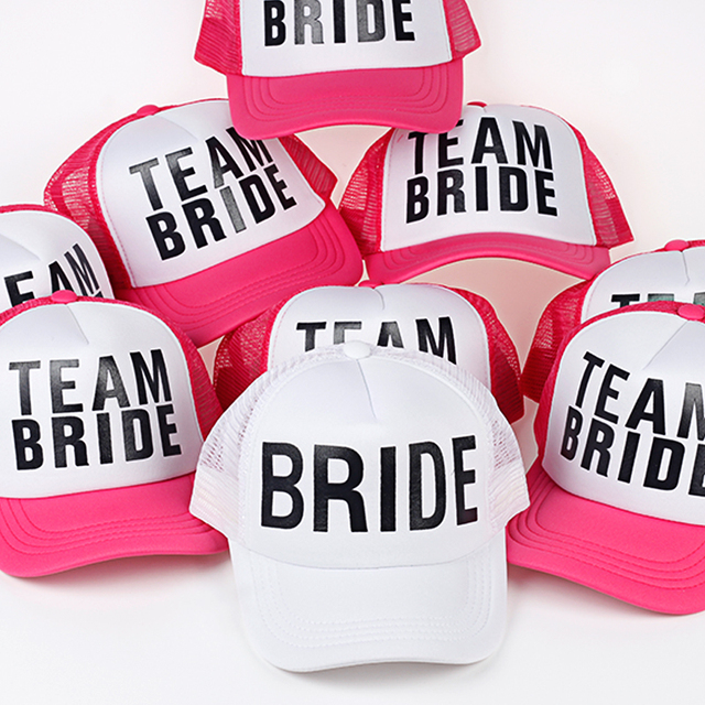 6c1eb4c71e0 2017 Fashion Bride Team Bride Bridesmaid Women Wedding Mesh Caps Hat  Bachelorette Summer Trucker Caps White Neon Mesh Hat