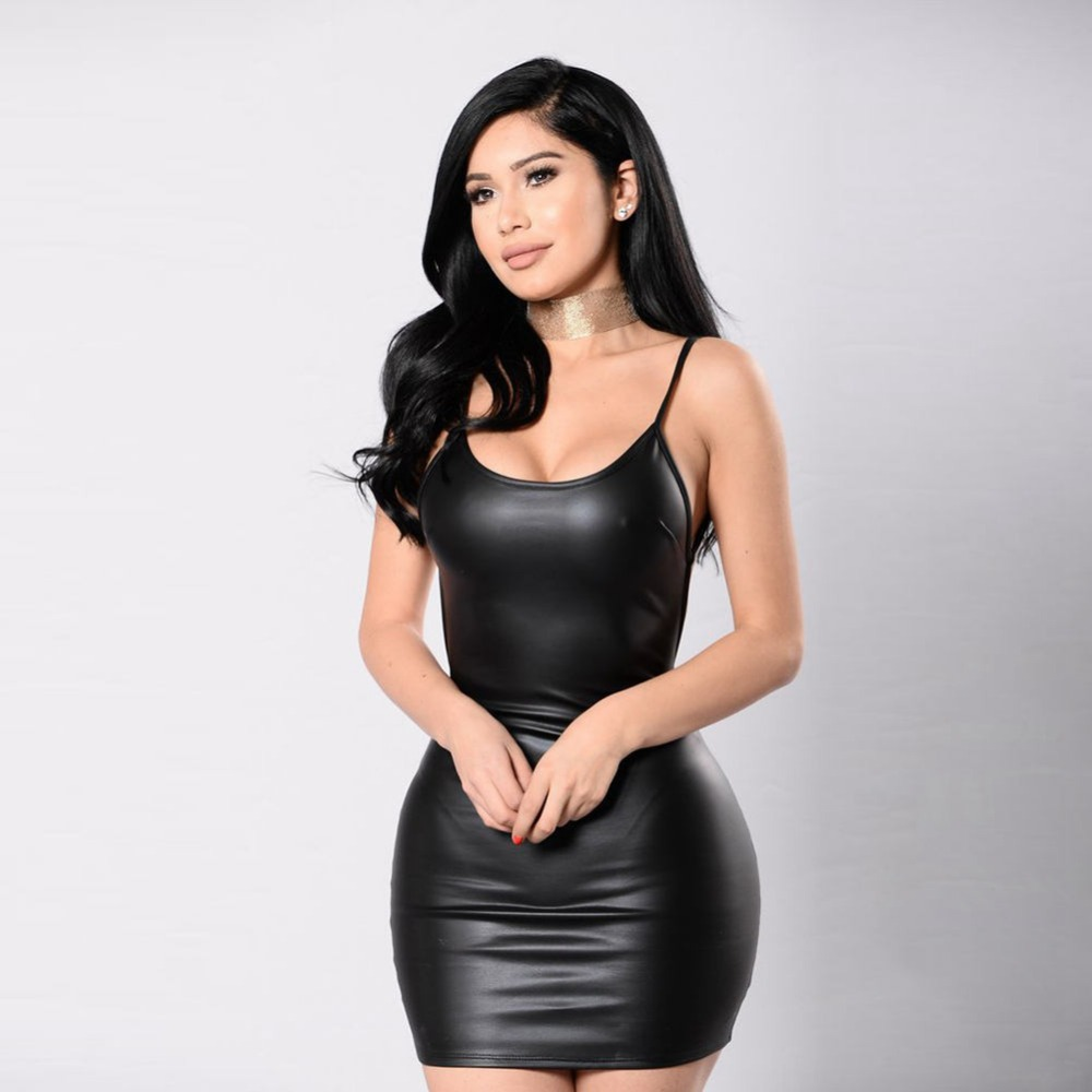Black dress mini - Sexy Women Spaghetti Straps Black Dress Backless Pu Leather Bodycon Spring Summer Mini Club Party Sheath