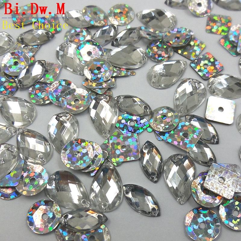 50 Piezas de Pedrería Cristales De Diamantes Gemas Coser en Adorno Decoración Adorno
