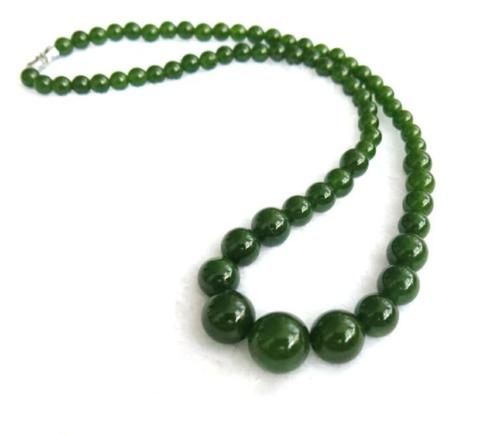 100% Natura Emerald Hetian Jade Handcraft Carved Beads Necklace Wholesale