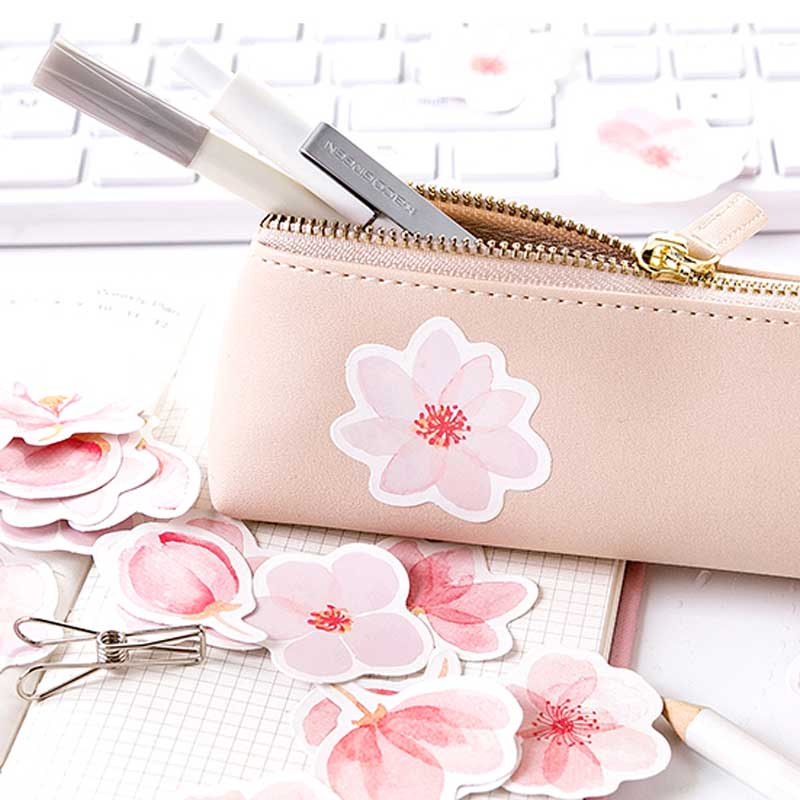 Купить с кэшбэком 46pcs/box Japan Cherry Blossoms Planner Flower Sticker Diary Paper Decoration Kawaii Stickers Stationary Scrapbooking Journal