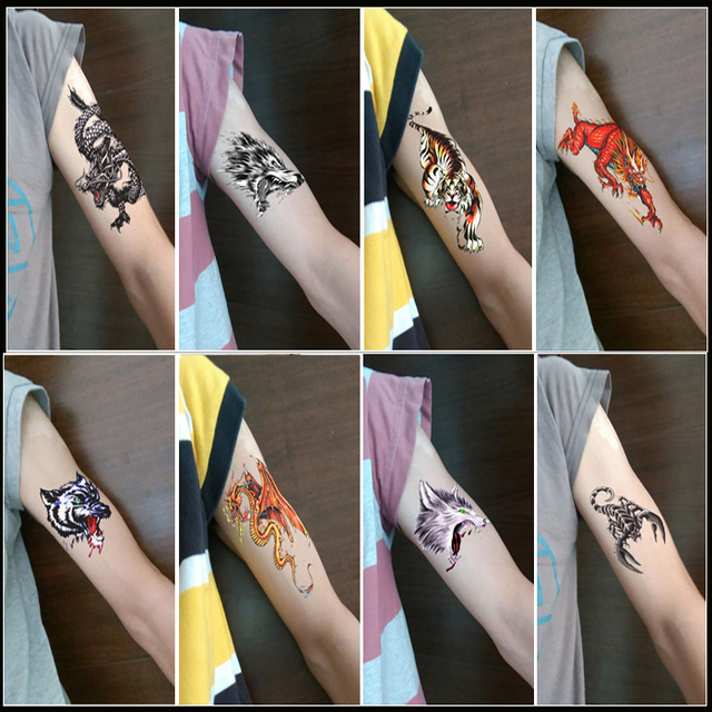 8pcs waterproof male dragon tiger wolf tattoo lasting lifelike animal totem tattoo stickers