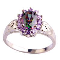 lingmei Free Shipping Brand New Oval Rainbow Topaz Amethyst 925 Silver Ring Size 7 8 9 10 Unisex Party Noble Jewelry Wholesale