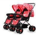 Bebê choque gêmeo do bebê stroller leve bidirecional pode sentar mentira carrinho de criança dobrável duplo bb