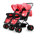 Twin baby stroller lightweight bidirectional shock baby can sit lie stroller foldable double bb