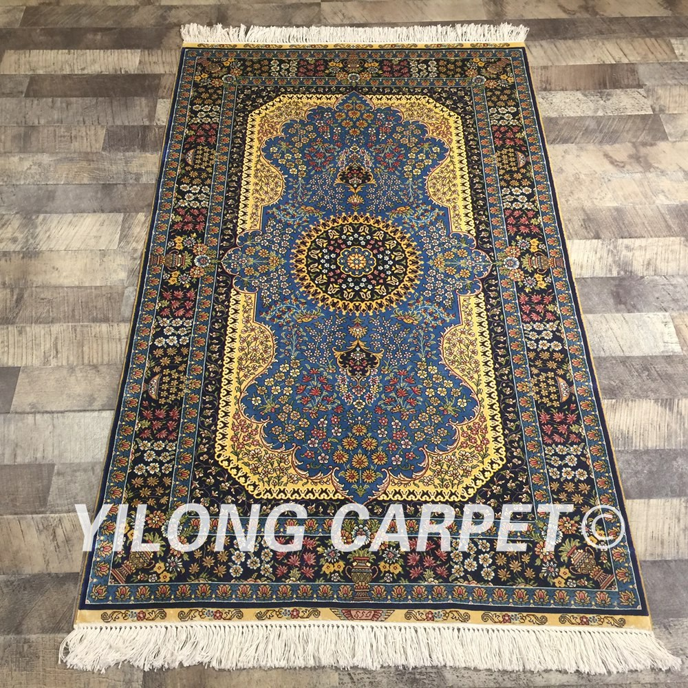 Yilong 3'x5' Blue Handmade Traditional Persian Carpet