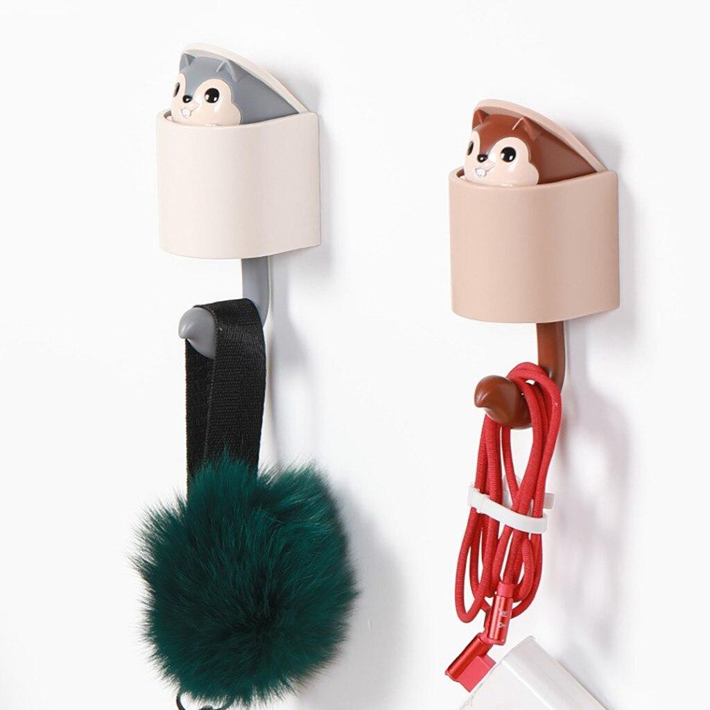 Home & Garden Orderly Squirrel Wall Hook Adhesive Home Cartoon Cute Hanger Key Umbrella Towel Cap Coat Gancio Carino #30