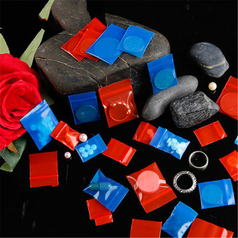 20 Wires 100pcs Colored Blue Red Zipper Bag Jewellery Bag Small Thickening Pocket Sealed Bags Accessories Jewelry Bag