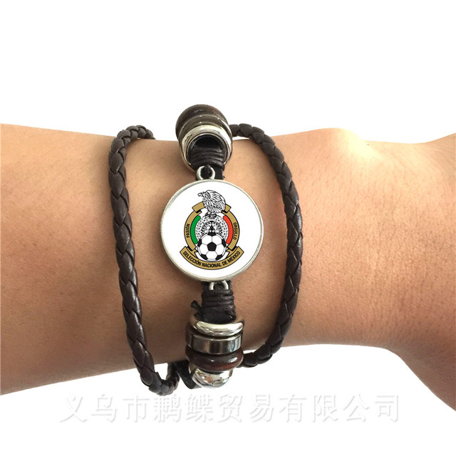 Totem Of Football Team Peru,Croatia,Tunisia,Saudi Arabia,Senegal Football Fans Glass Dome Leather Bracelet Souvenir Gifts