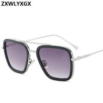 Men Vintage Steampunk Sunglasses Brand Designer Tony Stark Iron Man Goggles Retro Windproof Steam Punk Sun Glasses UV400