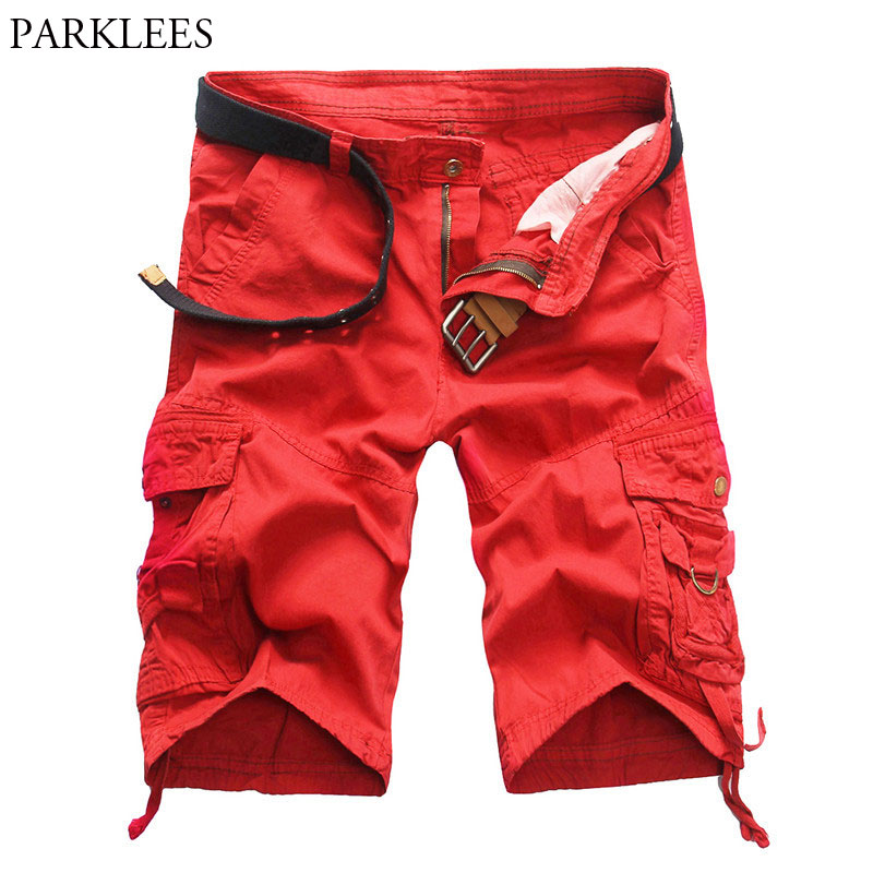2018 New Arrival Red Cargo Shorts Men Multi Pocket Casual Design Fashion Shorts Homme Cotton Loose Lightweight Shorts Red