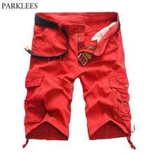 89f82de2b7 2018 New Arrival Red Cargo Shorts Men Multi Pocket Casual Design Fashion  Shorts Homme Cotton Loose