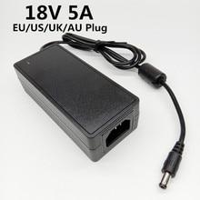 18V 5A EU US UK AU plug AC 100V 240V Converter universal 18 volt power adapter DC 18 V 18V5A Power Supply 5.5mmx2.1 2.5mm