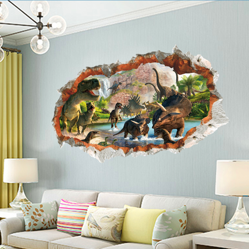 3d etkisi dinozor dünya duvar çıkartmaları çocuk odaları için - Ev Dekoru - Fotoğraf 6