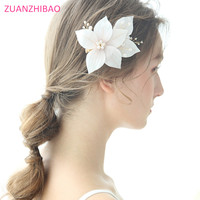 Bridal Hair Flowers Handmade Chiffon Freshwater Pearl Headdress Prom Wedding Hair Accessories Gold Flora Hair Jewelry Hair Pins