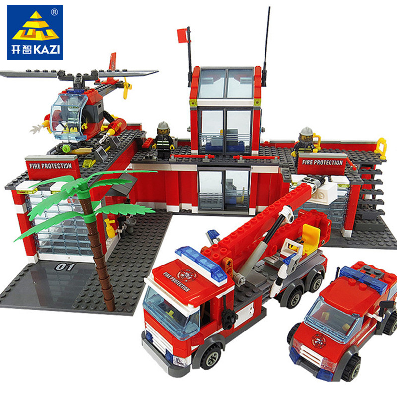 774 stücke LegoINGs Stadt Feuer Station Bausteine Sets Hubschrauber Feuer Motor Kämpfer Lkw Ziegel Playmobil Spielzeug für Kinder