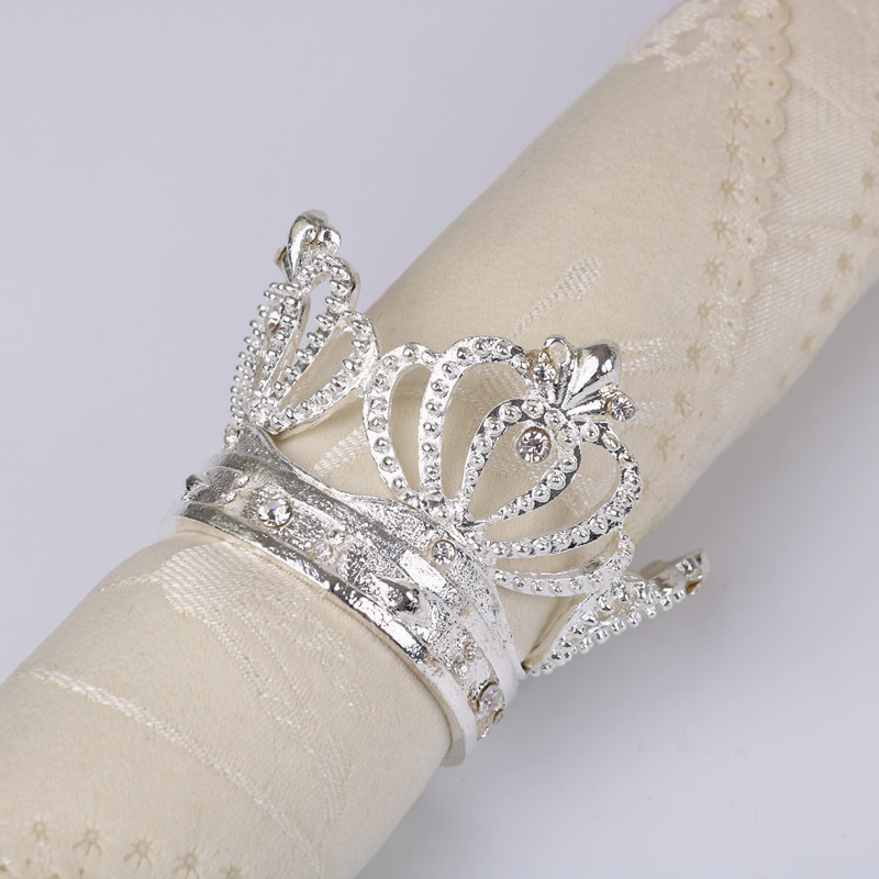 12PCS alloy diamond crown napkin buckle gold napkin ring Hotel home decoration napkin ring gold silver in Napkin Rings from Home Garden
