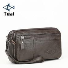 Men Wallets Double Zipper Genuine Leather soft Wallet Men Coin Purses Fashion Long Male Clutch Bag With Phone Pocket недорого