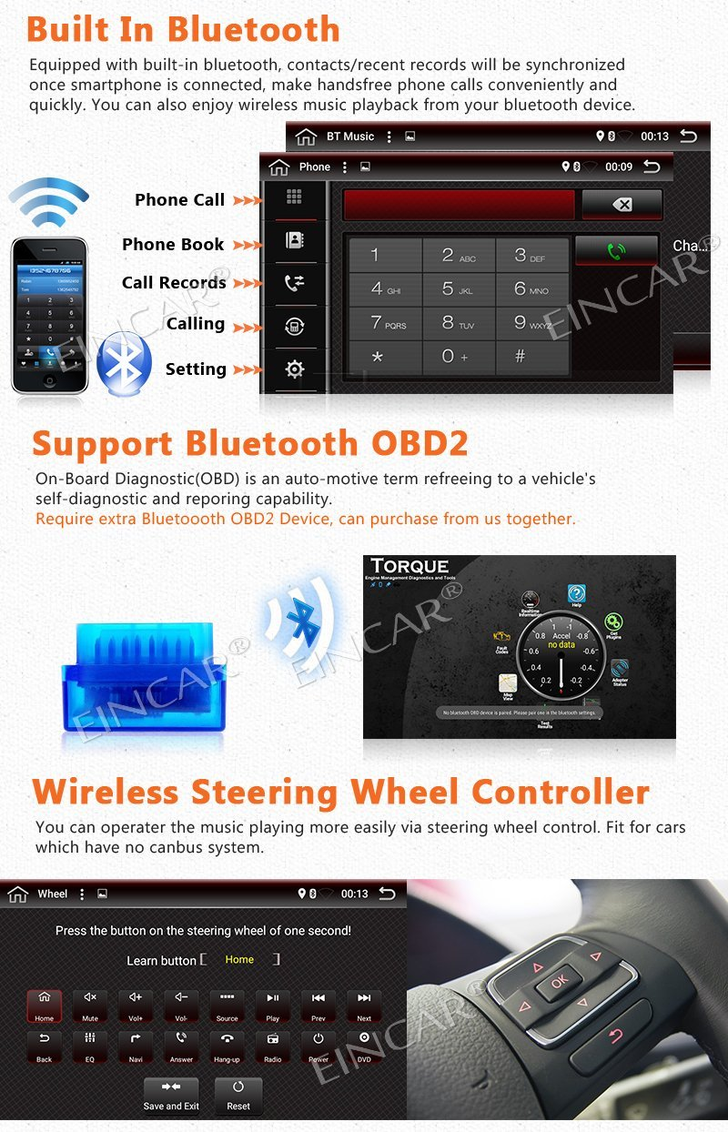 Android 6.0 autoradio Din unique 1 unité de tête Din Support de Navigation GPS DAB +, OBD2, WiFi 3G, Radio RDS, 64 go USB SD, Bluetooth - 5