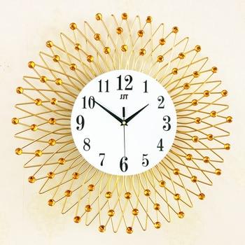 Wall Clock Art Craft Gold Crystal  kitchen clock Iron Retro Decorative Wall Clocks Design Clock Wall 14 Inch 50CL023