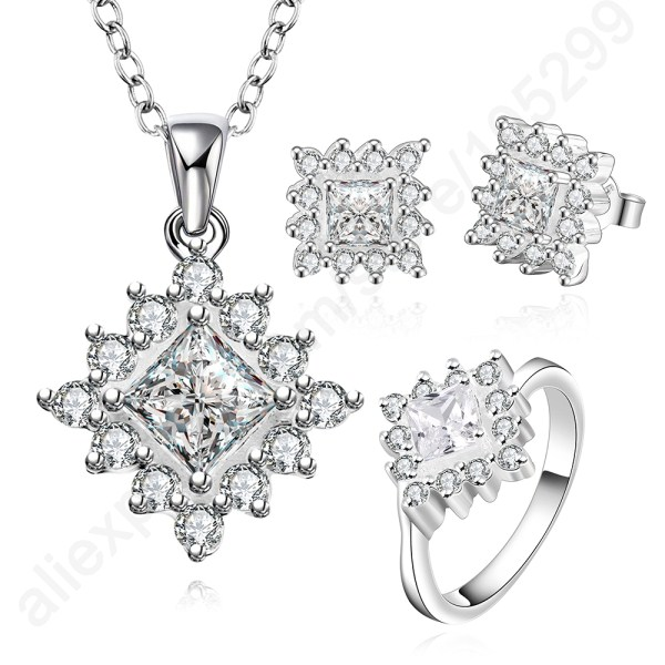 Bride Jewelry Earring-Necklace Zircon Crystal-Ring Flower Wedding 925-Sterling-Silver