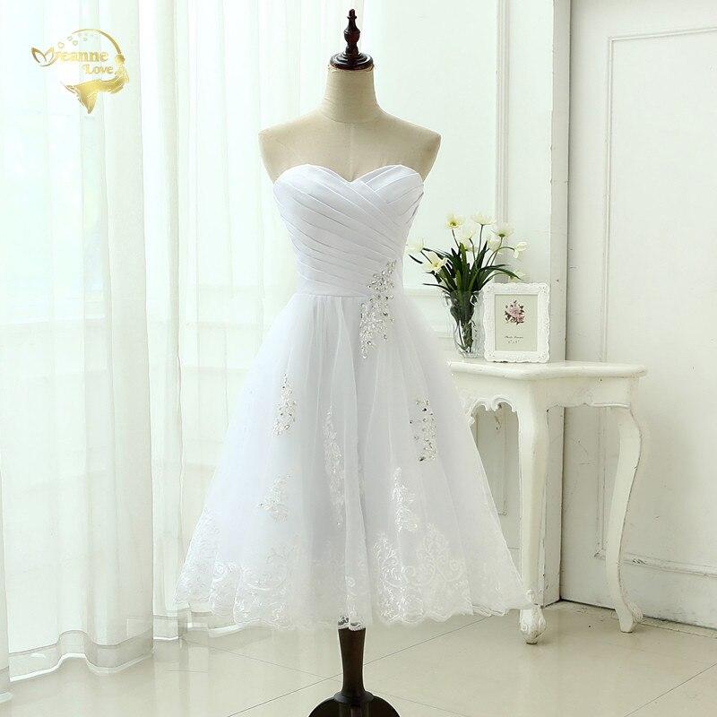 2019 Beach Tea Length Wedding Dress Sweetheart White Appliques Lace Vestido De Novia Robe De Mariee Short Wedding Dresses OW2222