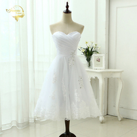 Cheap Price 2014 New Free Shipping A Line Beading Tea Lenght Sweetheart White Ivory Lace Wedding