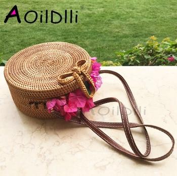 INS Bali bag Women Hand Woven Round Rattan Straw Bag Bohemian Beach Circle Bag Circular Handbag  Crossbody Shoulder Bags atabag Сумка